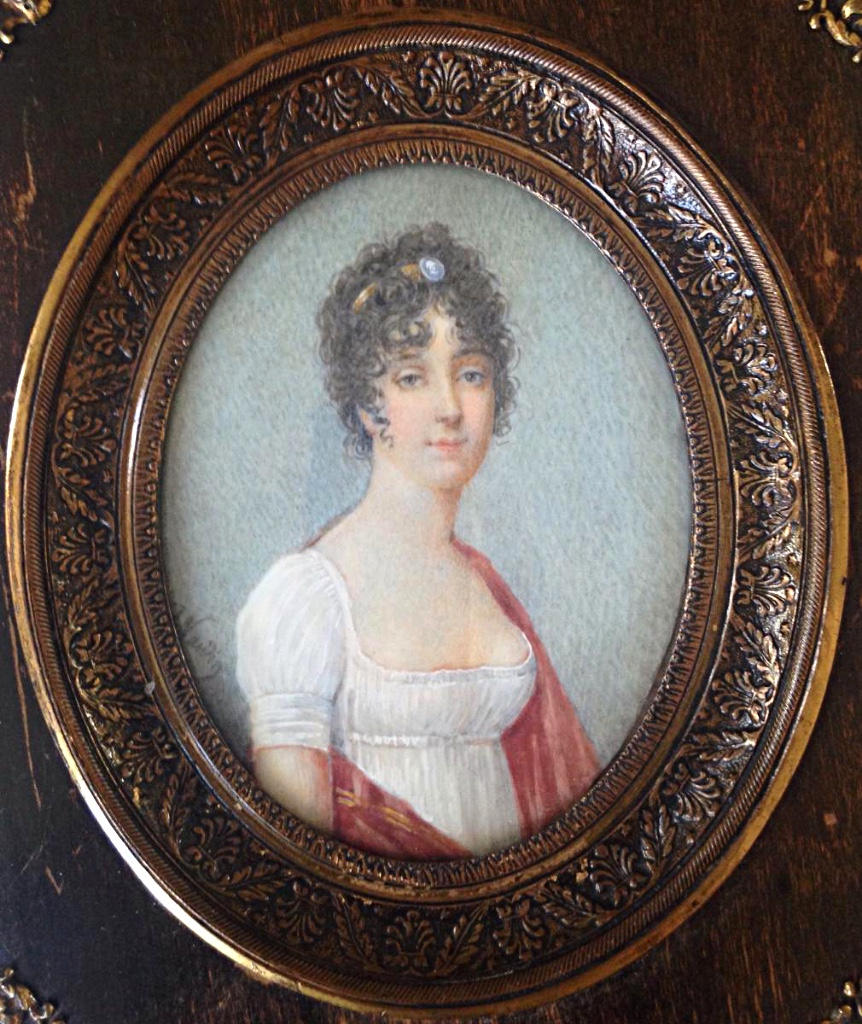 Miniature Femme Au Camée Robe Empire Portrait