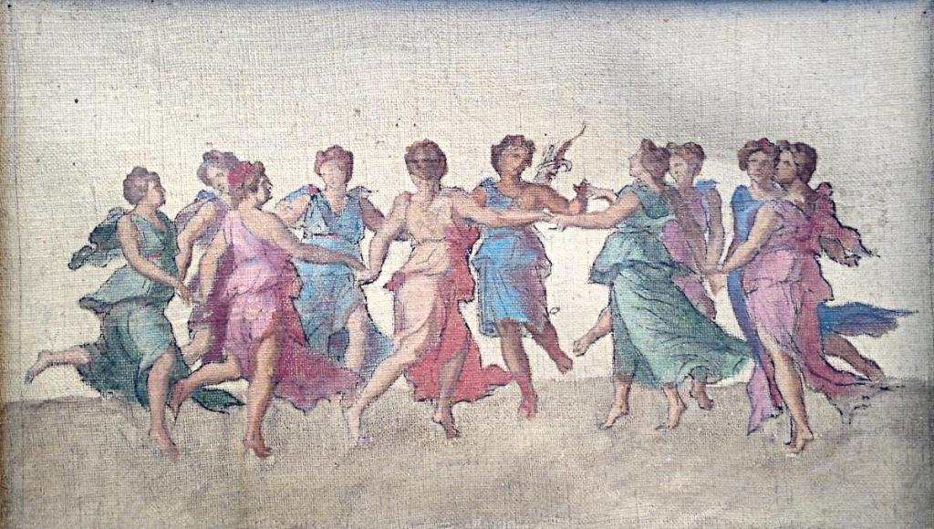Les Muses Dansant Avec Apollon XIXème Huile Sur Toile d'Après Baldassarre Peruzzi