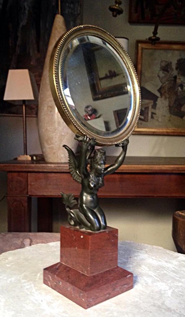 Miroir De Table Du XIXème Chimère Femme