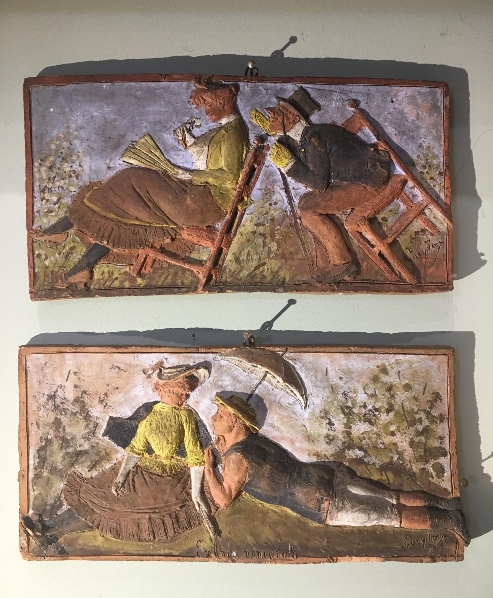 Pair Of Polychrome Terracotta Plaques Georges Gueyton Circa 1880 Impressionism