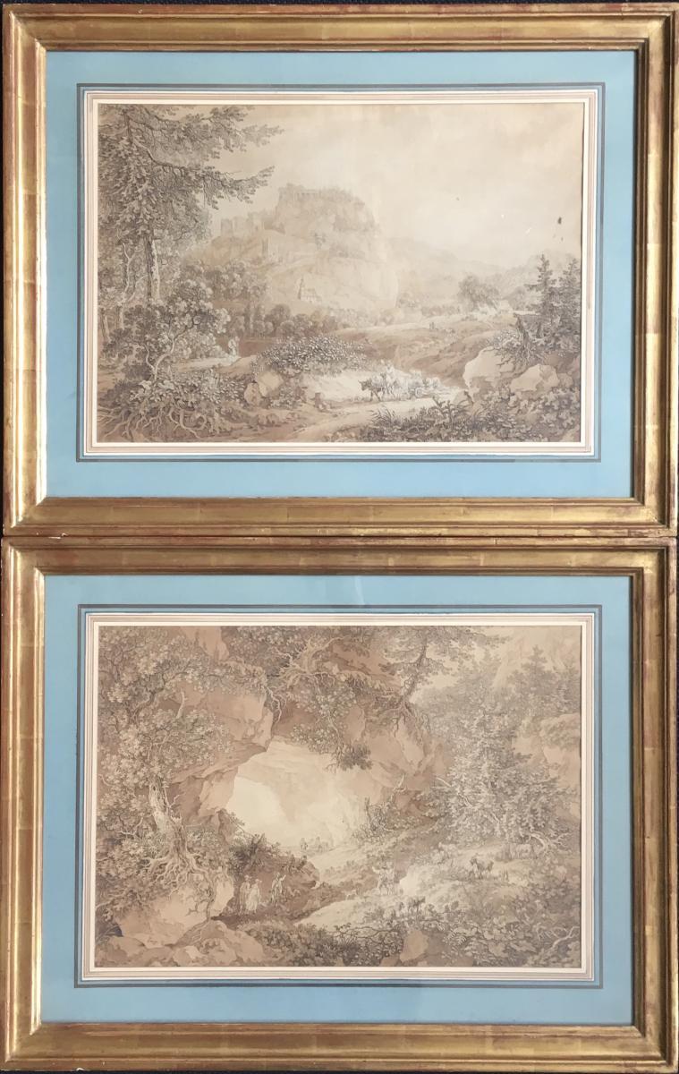 Pair Of Engravings Adrian Zingg Eighteenth Landscapes Of Swiss Kuhstall Lichtenhain Ruins