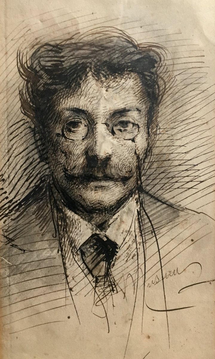 Paul Musurus Man With Mustache Pen Drawing Late Nineteenth Century