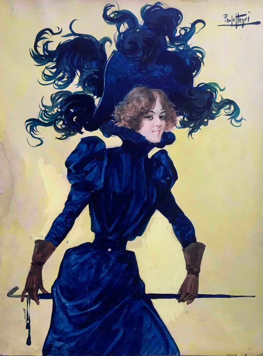 Paolo Henri La Parisienne Gouache Et Aquarelle Vers 1900 Mode femme elégante