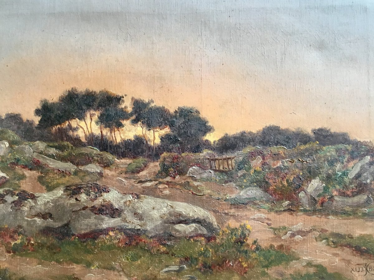 Félix Choisnard Landscape Of Brittany Oil On Canvas Of The XIXth Century Sunset-photo-2
