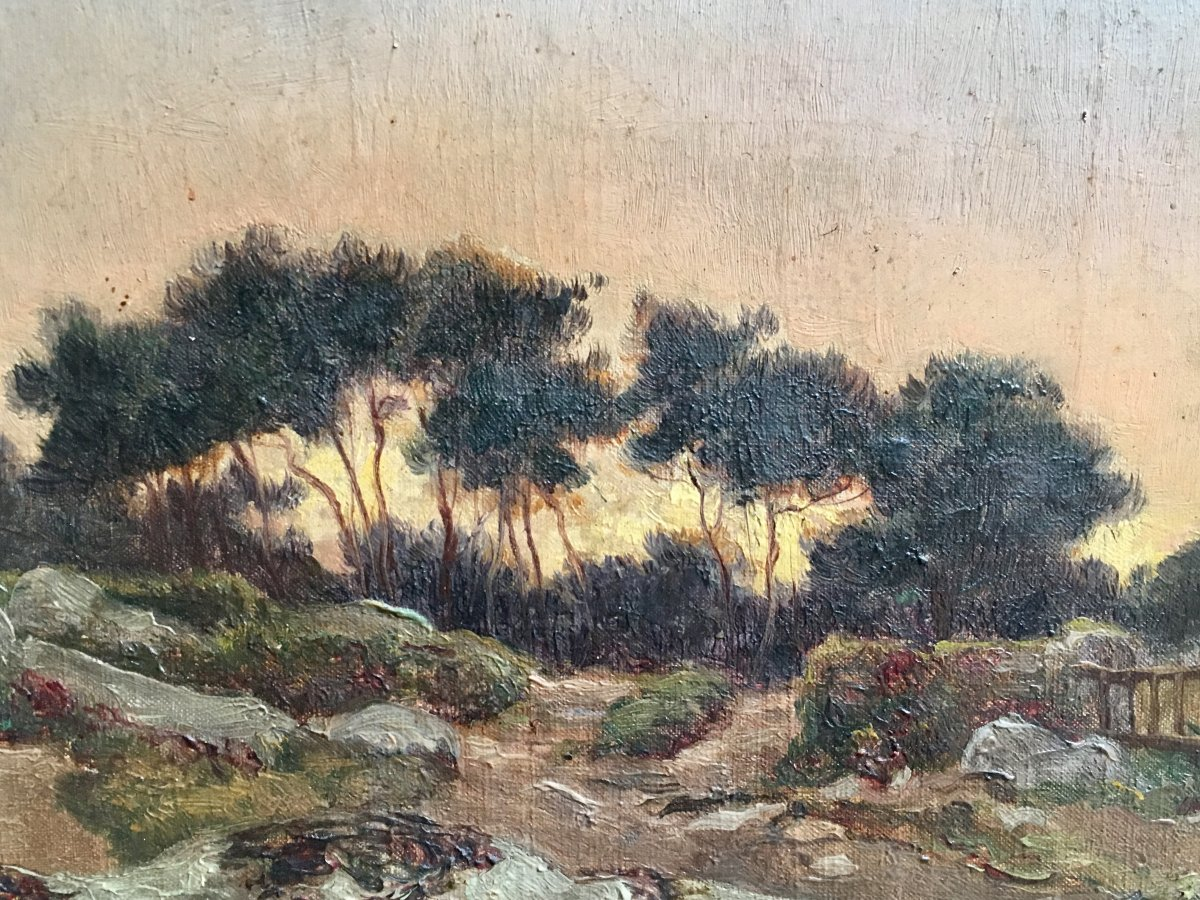 Félix Choisnard Landscape Of Brittany Oil On Canvas Of The XIXth Century Sunset-photo-3