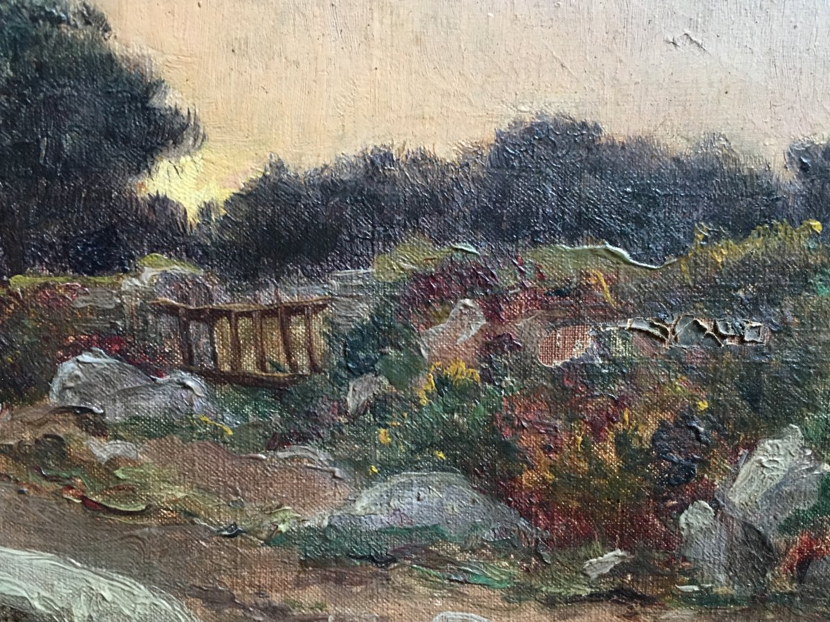 Félix Choisnard Landscape Of Brittany Oil On Canvas Of The XIXth Century Sunset-photo-4