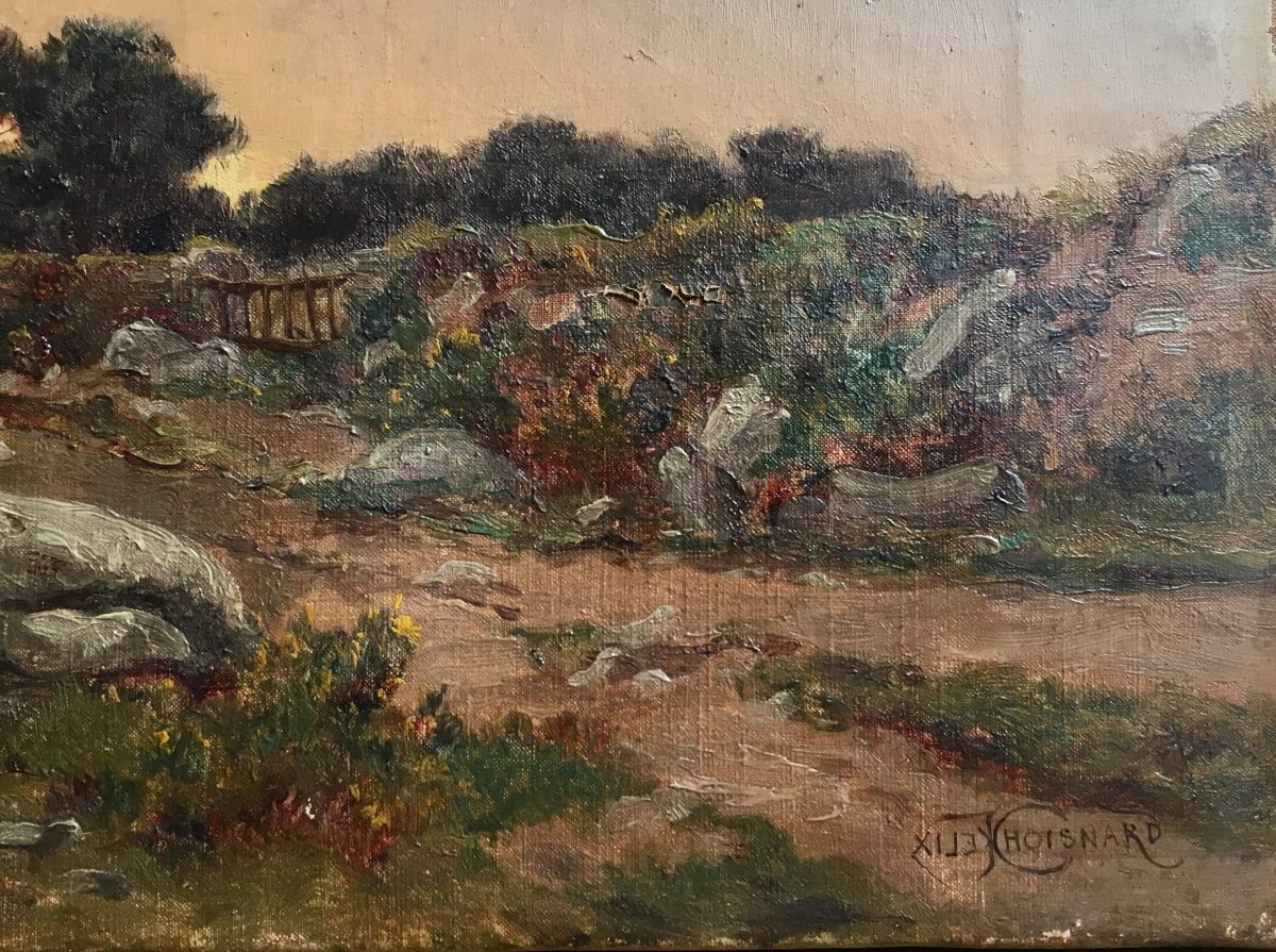 Félix Choisnard Landscape Of Brittany Oil On Canvas Of The XIXth Century Sunset-photo-1