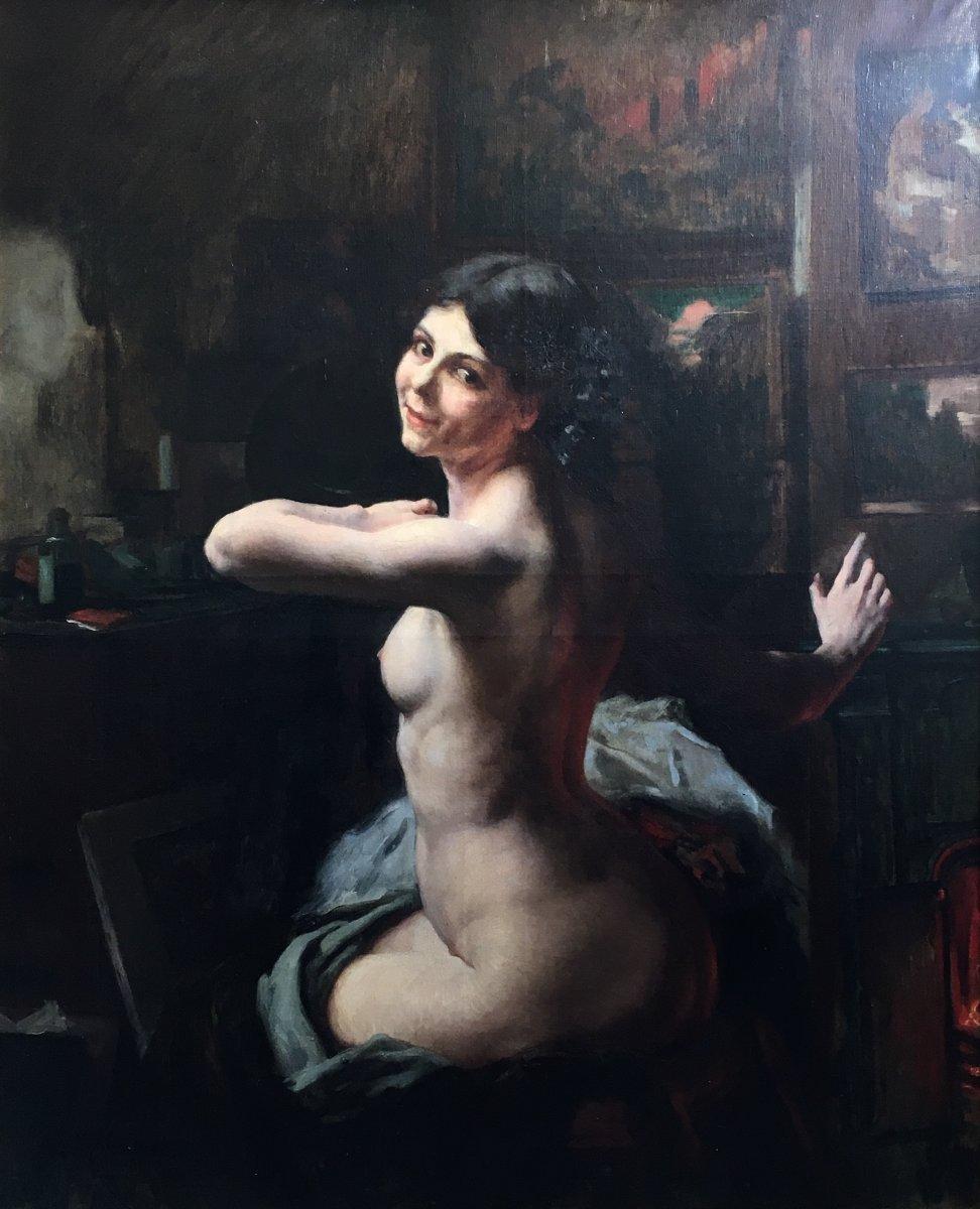 Ludovico Marchetti Femme Nue Dans L'atelier Grande Huile Sur Toile 1902 Peintre Italien