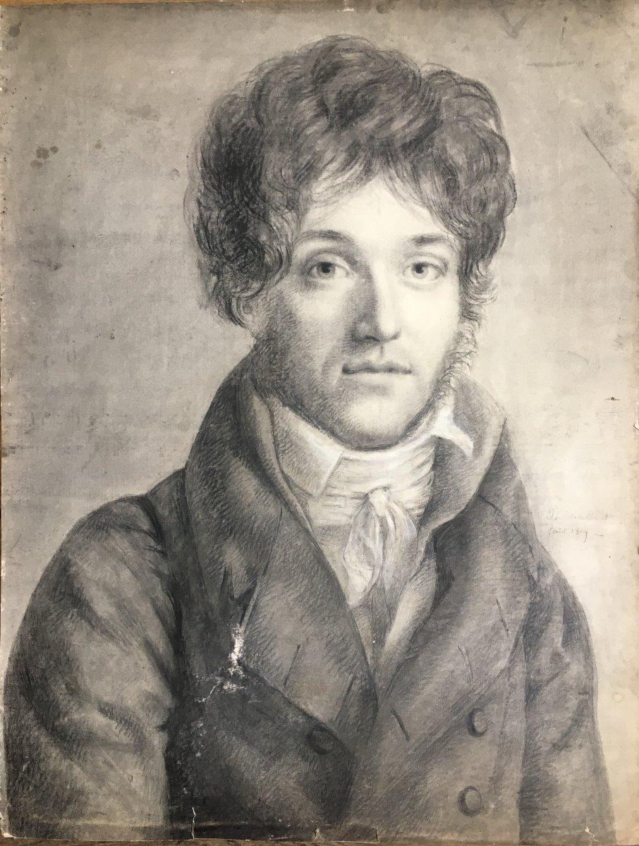 Portrait D'homme D'époque Empire Dessin Signature à Déchiffrer 1809