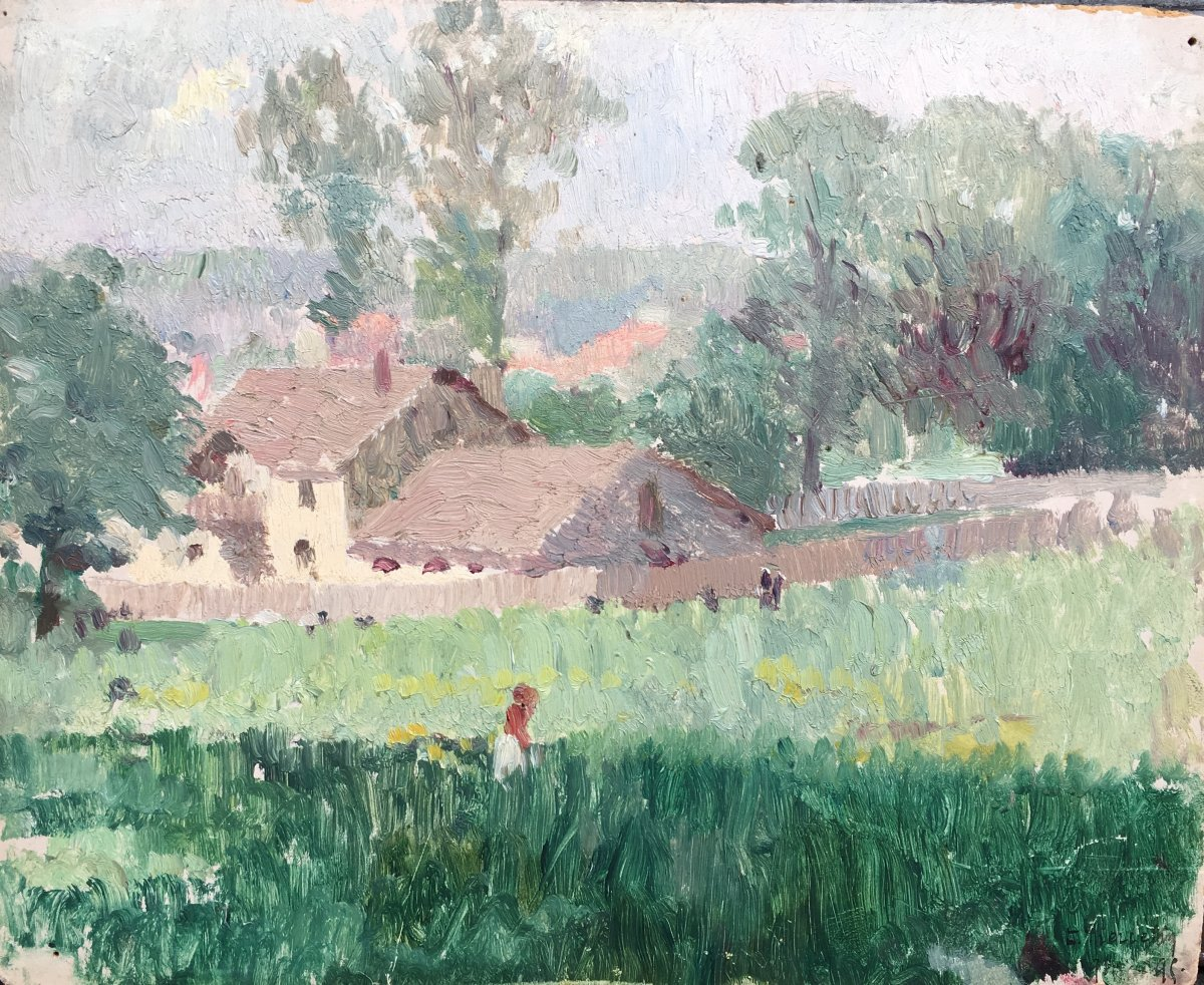 Country Landscape Oil Cardboard 1895 Impressionism Signature