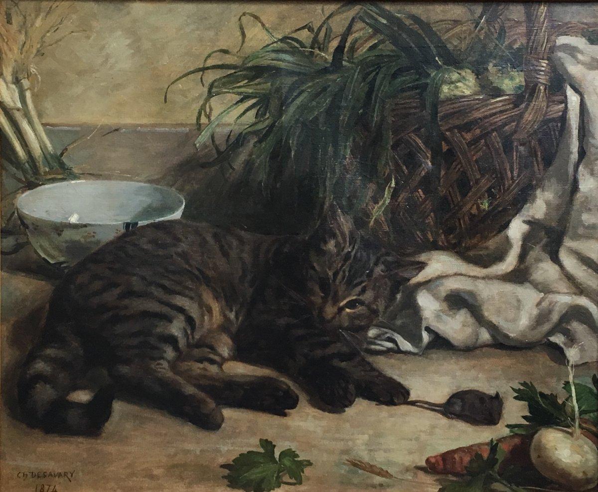 Charles Desavary Le Chat Et La Souris Huile Sur Toile 1874 Nature Morte