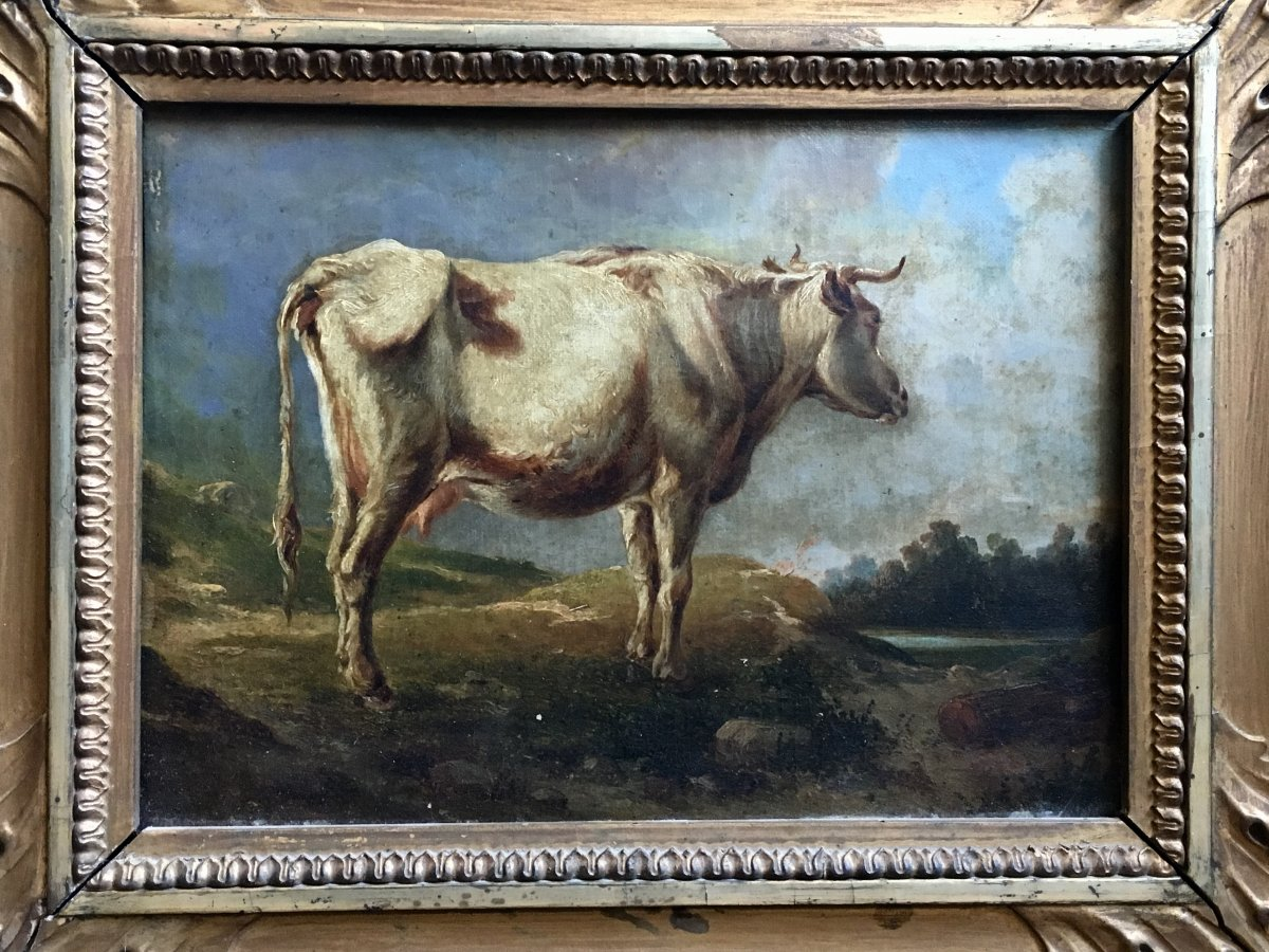 Cow In A Meadow Oil On Canvas XIXth Century-photo-2