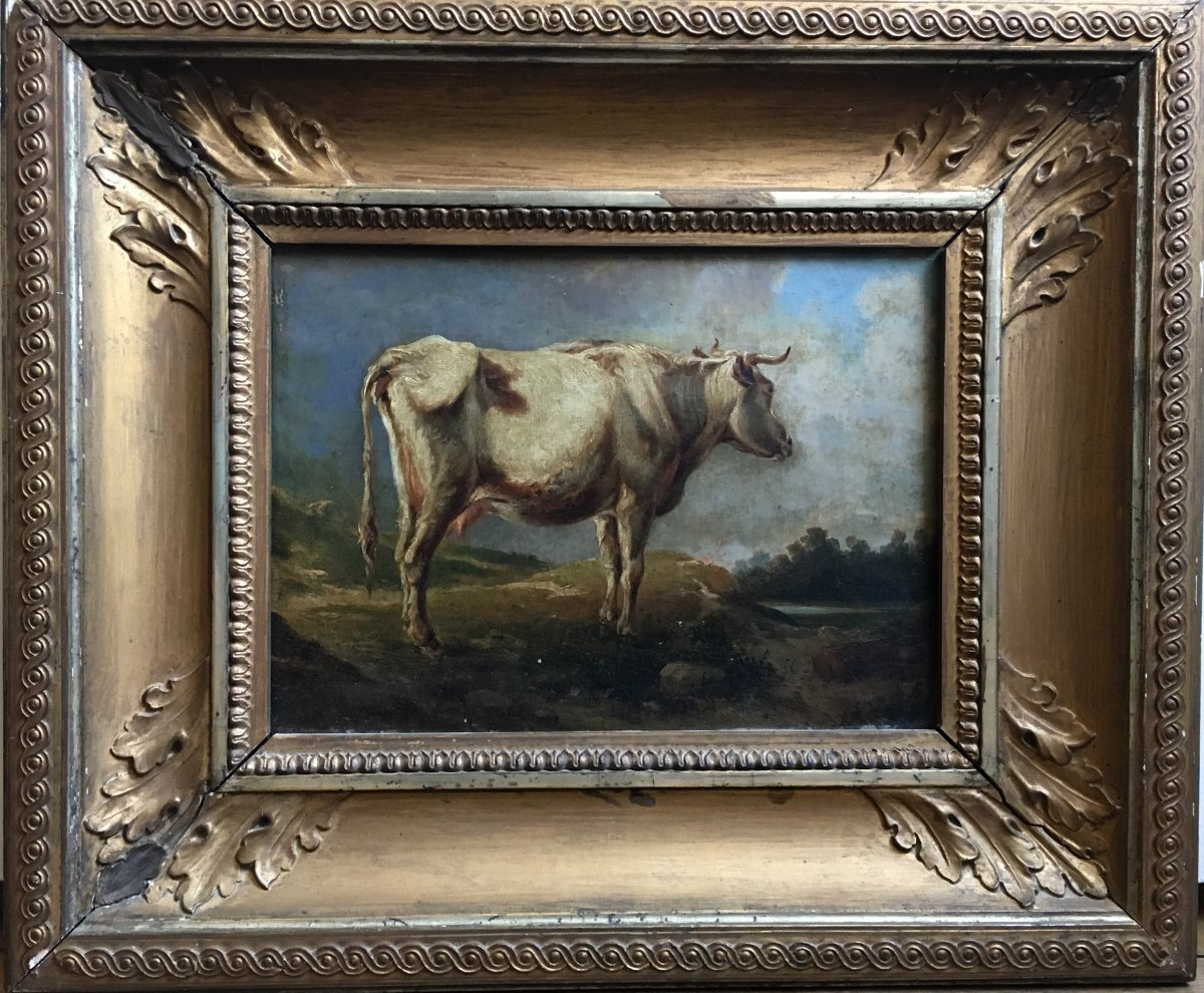 Cow In A Meadow Oil On Canvas XIXth Century-photo-3