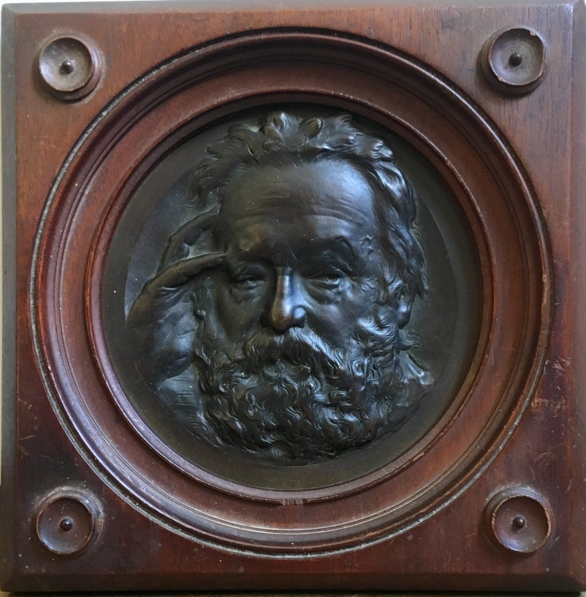 René Crozet Portrait Of Victor Hugo Framed Bronze Medallion