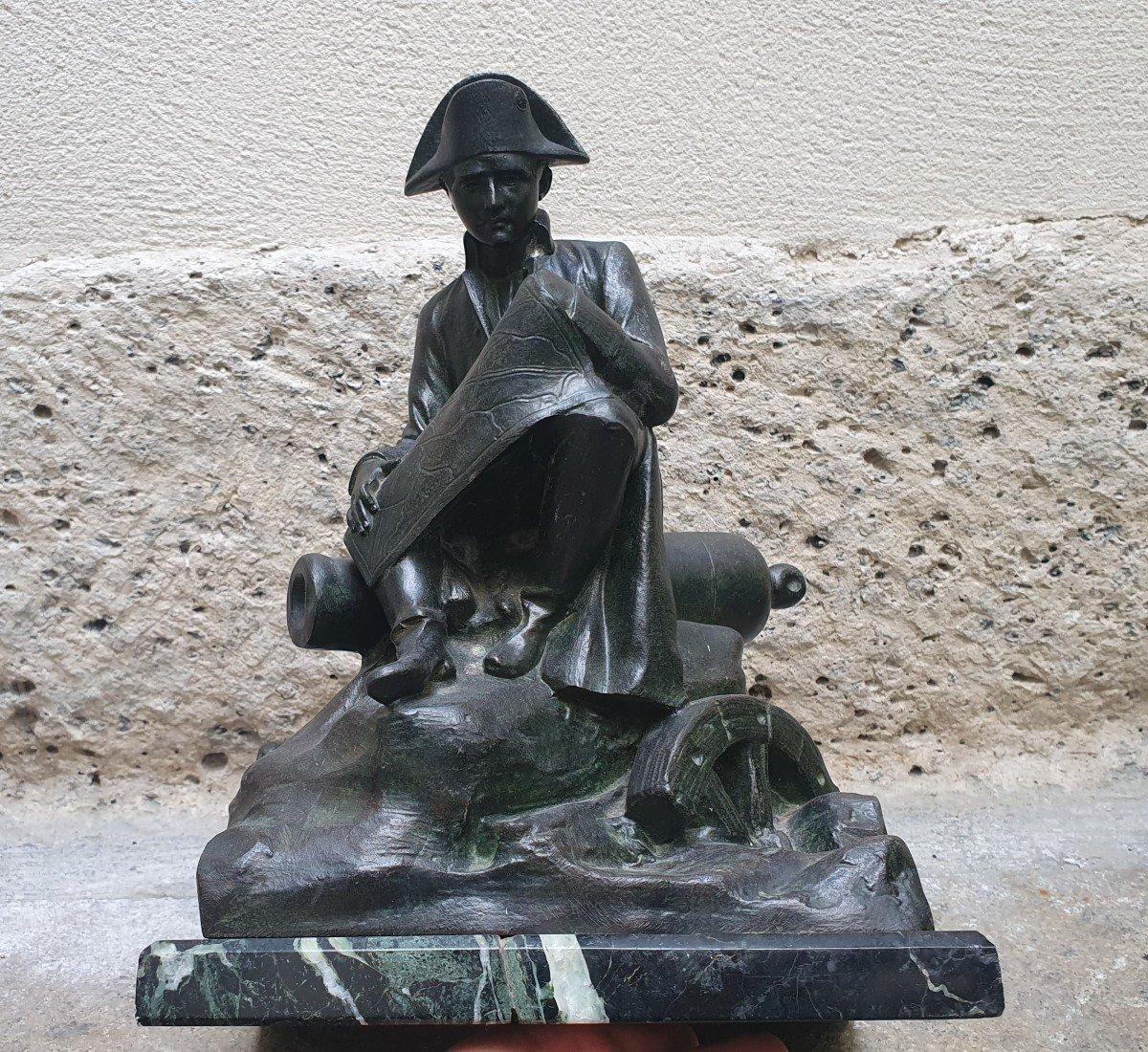 Napoléon Ier Assis Observant Une Carte Par Salesio Régule Patine Bronze-photo-2