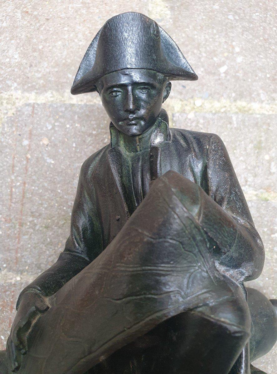 Napoléon Ier Assis Observant Une Carte Par Salesio Régule Patine Bronze-photo-3