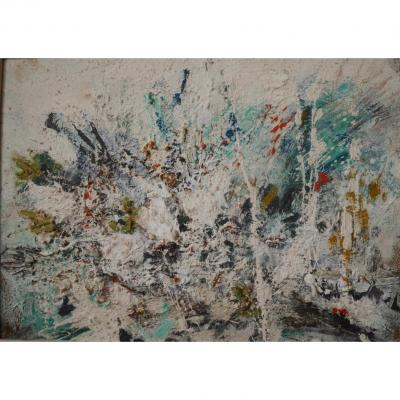 Abstraction Lyrique Around 1960 Oil On Canvas