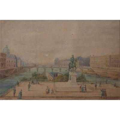 Gaspard Gobaut Paris Le Square Du Vert Galant Le Louvre Aquarelle XIXème