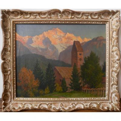 Michel Guermacheff Coucher de soleil Montagne Peintre russe Huile sur toile début XXème