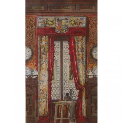 Dessin d'Intérieur XIXème Aquarelle John Weber 1890 Armoirie Céramique Architecture