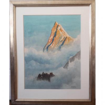 Pierre Thibault Les Grandes Jorasses Massif Du Mont-blanc Grande Aquarelle