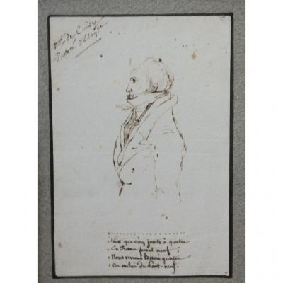 Portrait d'Un Professeur d'éloquence Dessin d'époque Directoire Fin XVIIIème