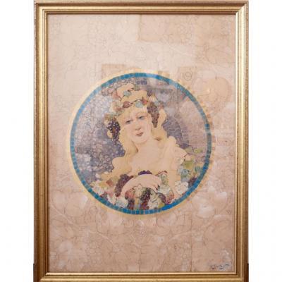 Alexandre Isaïloff Femme Art Nouveau Décor Aux Raisins XIX