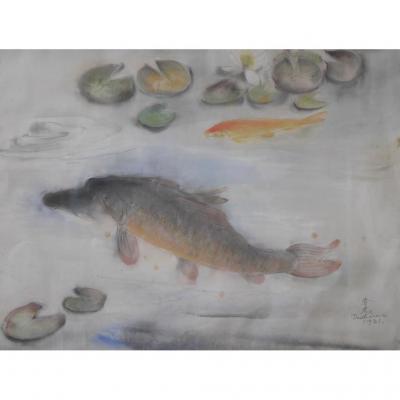 Shunko Deshima 1931 Le Bassin Aux Poissons Peintre De Montparnasse