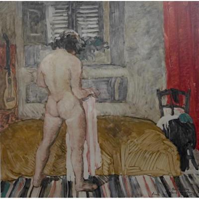Pierre Robert Lucas Monotype Femme Nue Dans Un Intérieur Prix De Rome Gravure
