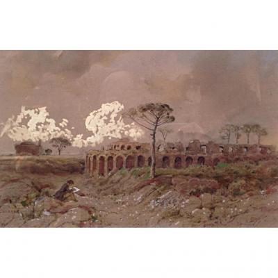 Jules Laurens Vue d'Italie Autoportrait Pompeï XIXème Aquarelle Ruines
