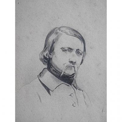 Portrait De David d'Angers Dessin Par Son Ami Jean François Gigoux Sculpteur