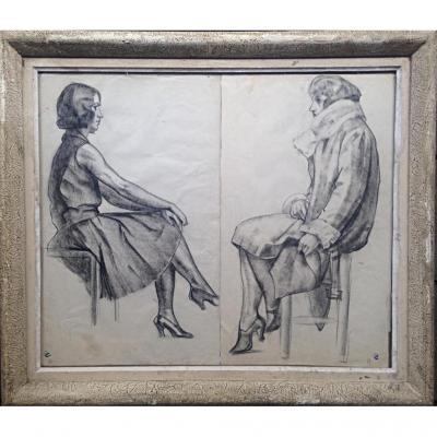 Paire De Dessins Portrait De Femmes Au Fusain Vers 1930-1940 Mode Monogrammé