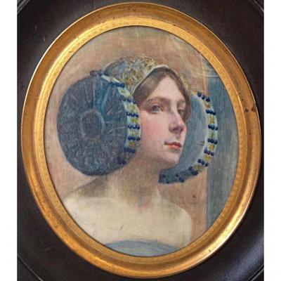Miniature Symboliste Vers 1900 Portrait De Femme Art Nouveau