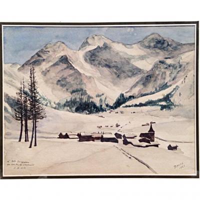 Davos Alpes Suisses Paysage De Neige 1923 Aquarelle Montagne