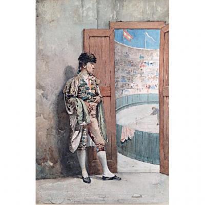 Le Toréador Josep Juliana Albert Aquarelle XIXème Espagne Torero