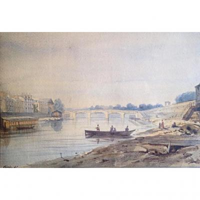 View Of Paris Island Of The City By Henri Jean Baptiste Levis 1845 Watercolor