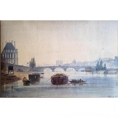 View Of The Seine Paris Louvre Notre Dame Henri Jean Baptiste Lévis 1845 Watercolor