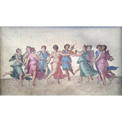 The Muses Dancing With Apollo Nineteenth Oil On Canvas After Baldassarre Peruzzi