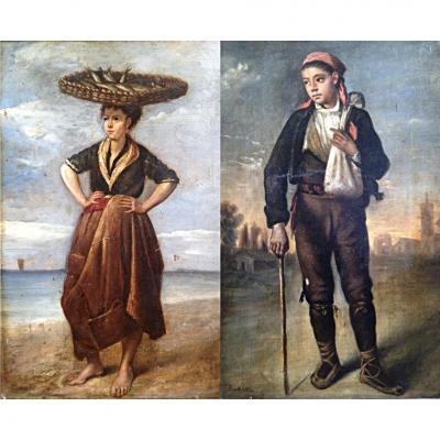 Pierre Toussaint Frédéric Mialhe Paire De Tableaux Pêcheuse Paysan Peintre Bordeaux Cuba 1850