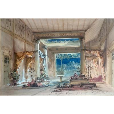 Marcel Ham Mock Decor Of Theater 1893 Watercolor And Gouache