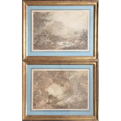 Paire De Gravures Adrian Zingg XVIIIème Paysages De Suisse Kuhstall Lichtenhain Ruines