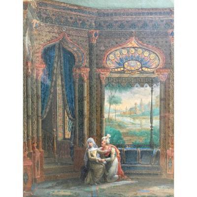 Mathilde Et Malek Adhel Par Jean Claude Rumeau Aquarelle 1825 orientalisme