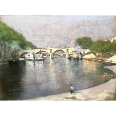 View Of The Bridge Marie The Morning By René Roll Pastel 1913 Paris The Seine