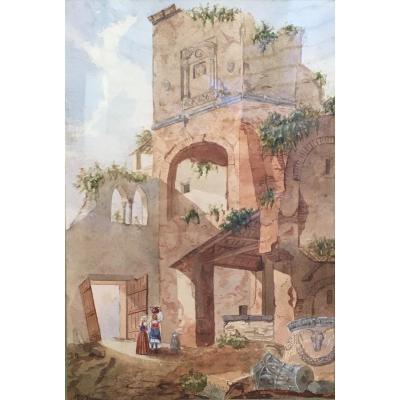 Vue De Ruines En Italie Par Émile Bénard XIXème Siècle Aquarelle