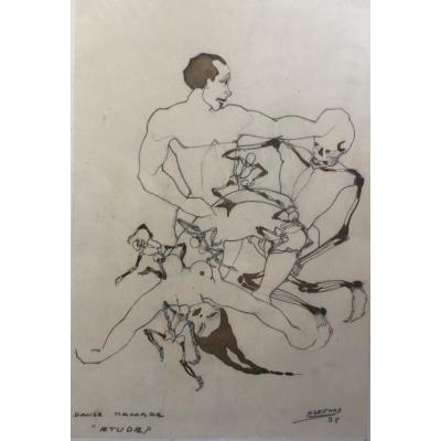 Danse Macabre Henri Gesthaz Dessin Au Crayon Femme Nue Et Squelette curiosité