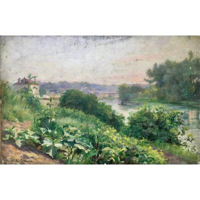 Albert Bettannier La Seine à Meudon Huile Sur Panneau Début XXème