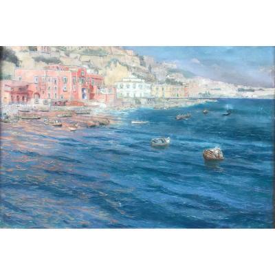 Seaside Animated Oil On Canvas XIXth Century Italy