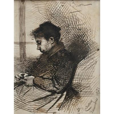 Paul Musurus Woman Sitting Madame Brion 1901 Pen Drawing