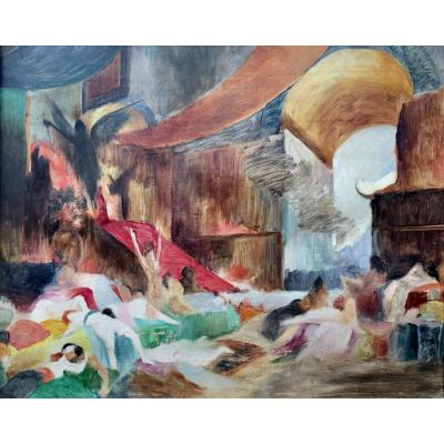 The Fall Of Babylon Georges-antoine Rochegrosse Sketch 1891 Oil On Canvas