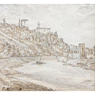 View Of The Tiber Rome Drawing From The End Of The Eighteenth Beginning Of The XIXth Century Italy